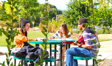 three students studying on Lake County Campus